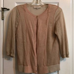 Loft blush nude lace cardigan